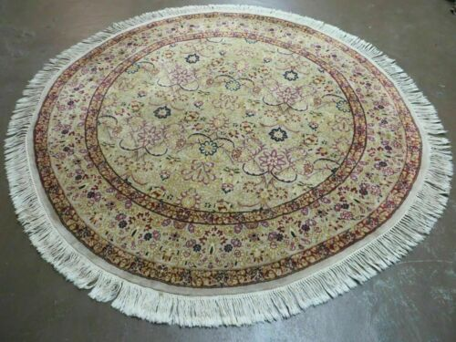 6' Hand Made Fine Persian Wool Rug Carpet Round Afshan Silk Accent Beauty