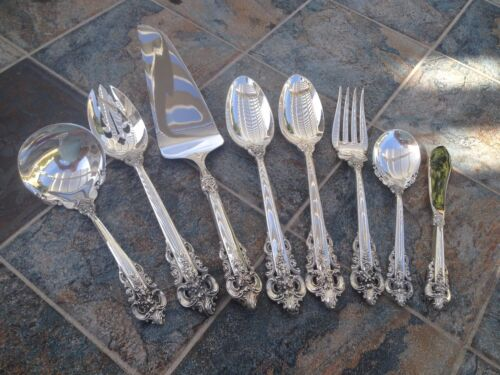 HEAVY COMPLETE WALLACE SERVING HOSTESS SET GRAND GRANDE BAROQUE STERLING SILVER