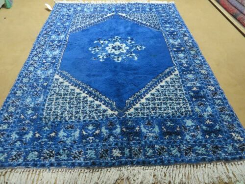 "5' 6"" X 7' 6"" Vintage Hand Made Moroccan Tribal Wool Rug Carpet Blue Nice"