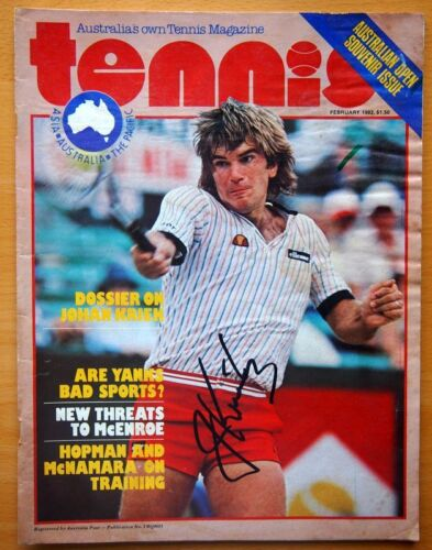 JOHAN KRIEK PERSONALLY SIGNED TENNIS MAGAZINE WITH CERTIFICATE OF AUTHENTICITY
