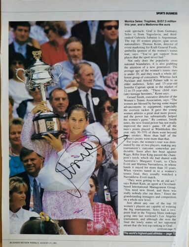 MONICA SELES PERSONALLY SIGNED TENNIS ARTICLE PAGE WITH CERTIFICATE