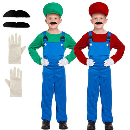 Children's Super Mario Bros Luigi Costume Kids Book Week Red Green Fancy Dress