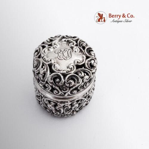 Floral Scroll Openwork Thimble Holder Unger Brothers Sterling Silver 1900