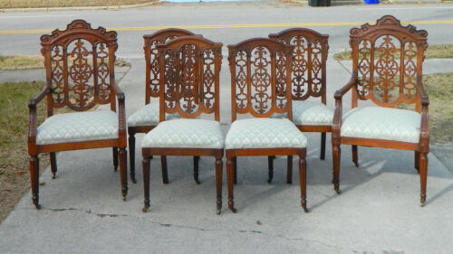 Set of 6 Oak Pierced Back Dining Chairs 2~Arm   6~Side  19th Century