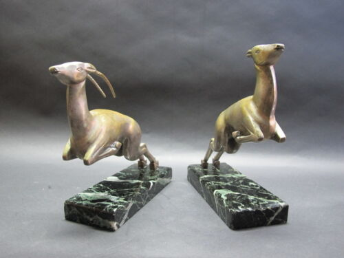 MARCEL-ANDRE BOURAINE (French) Art Deco Bronze Gazelle Bookends c. 1920  antique