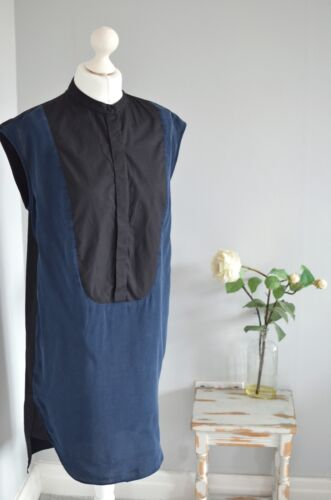 """COUNTRY ROAD Designer navy/black SILK shift fit tunic dress Best fit L 22"""" pit"""