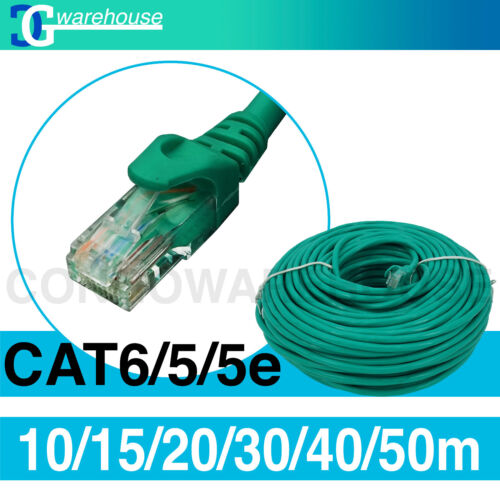 10m/15m /20m/ 30m /40m /50m Cat6 Enthernet Patch Cable Network Data Lead -Green