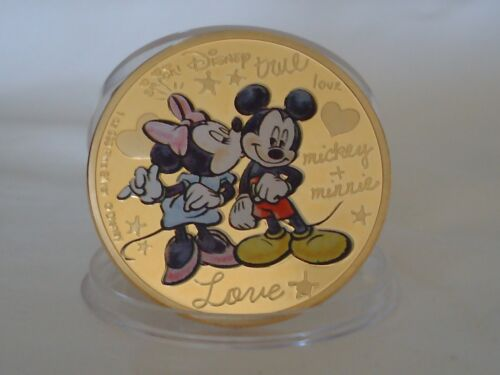 """Mickey Mouse and Minnie Mouse """"True Love"""" 24k Gold Plated Souvenir Coin in Case."""