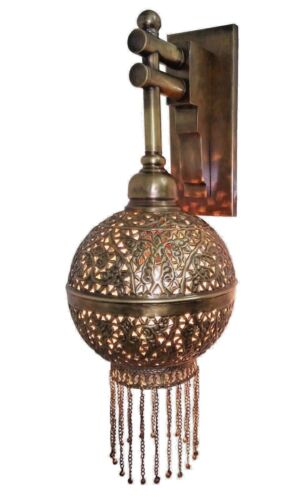 BR359 Unique Handmade Brass Ball Wall Mount Moroccan Ball Sconce