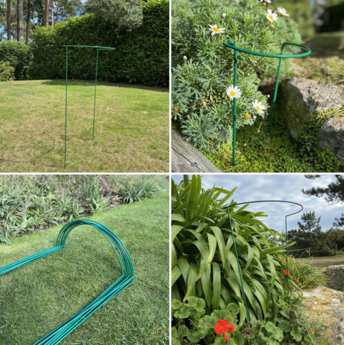 Garden Metal Herbaceous Plant Support Stakes Frame Cage Wire Grow Through Hoops