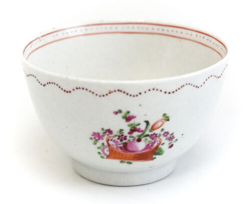 Chinese Export Porcelain Footed Cup, 19th Century Multicolored Floral Basket