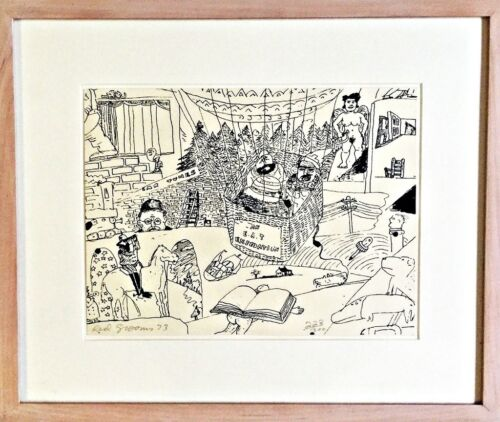 """RED GROOMS Pencil SIGNED Original SERIGRAPH Limited Edition """"44/300"""" FRAMED 1973"""