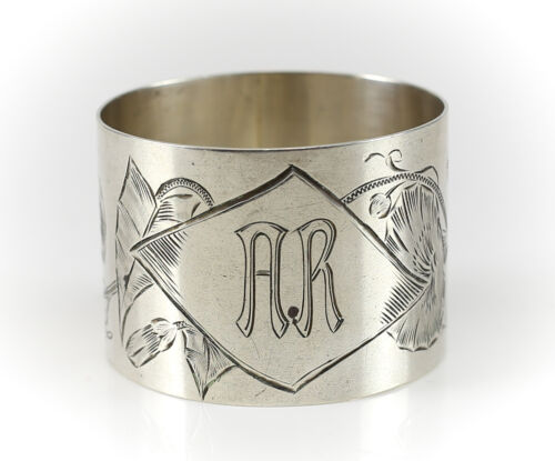 German .800 Silver Napkin Ring by Gustav Haegermann. c.1820 Hand chased Floral