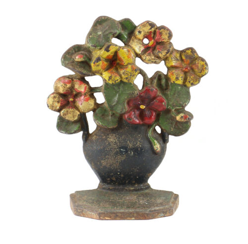 American Polychrome Cast Iron Door Stopper;  19th Century Basket of Flowers