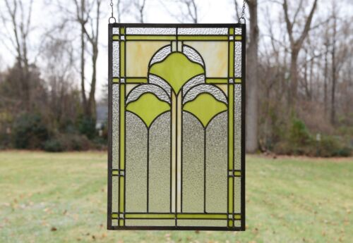 "15.25"" x 22.75"" Handcrafted Ginkgo style stained glass window panel"