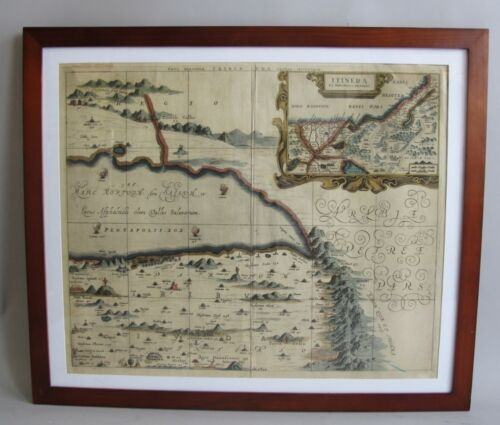 Framed Antique 17th C. Hand-Tinted Map of the MIDDLE EAST (Arabia) in Exc. Cdn.