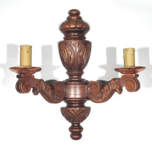 VintageFrench Wooden Sconce, Two Lights, Acanthus