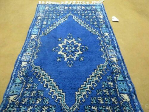 "2' 6"" X 4' 6"" Vintage Hand Made Moroccan Tribal Wool Rug Carpet Blue Nice"