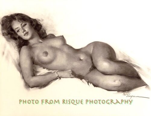 """Nude Woman Drawing 8.5x11"""" Photo Print Soft Naked Female Gil Elvgren Pinup Art"""