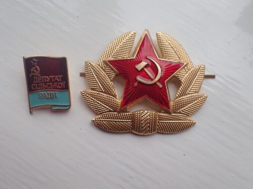 Genuine USSR CCCP Soviet Russian Communist Party Label Pin Badge & Army Hat PinOther Eras, Wars - 135