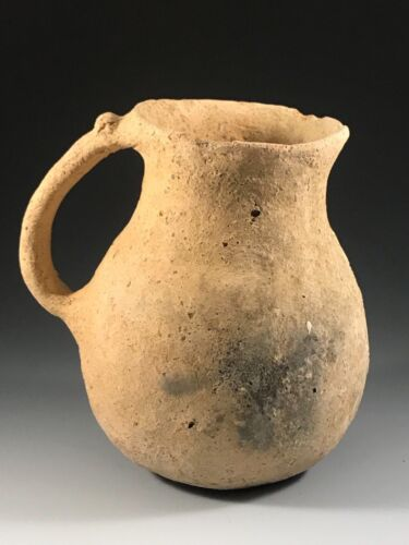 ANCIENT HOLY LAND TERRA-COTTA JUG; LATE BRONZE AGE PERIOD, 1200 - 1000 B.C.