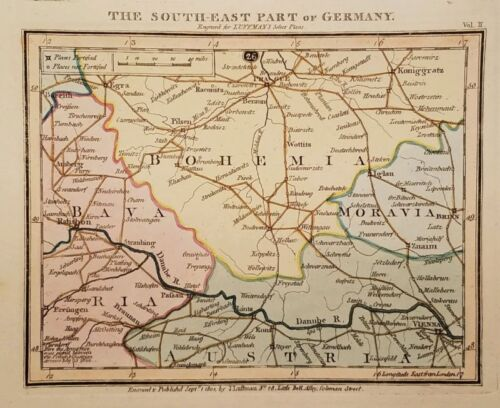 Antique Map THE SOUTH-EAST PART OF GERMANY Bohemia Bavaria Austria Luffman 1801