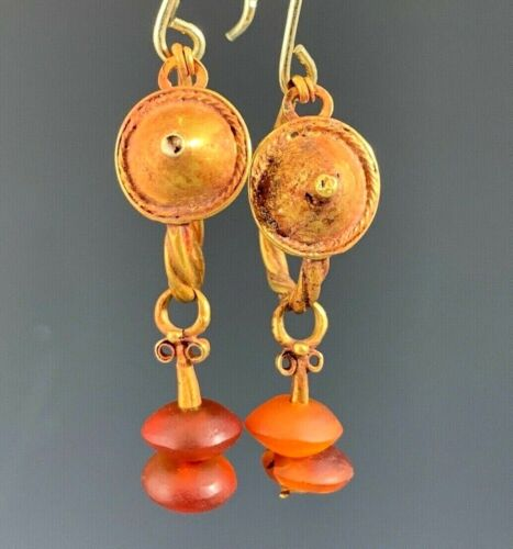 ANCIENT ROMAN-BYZANTINE GOLD SHIELD AND TWISTED WIRE EARRINGS; CHARMING!