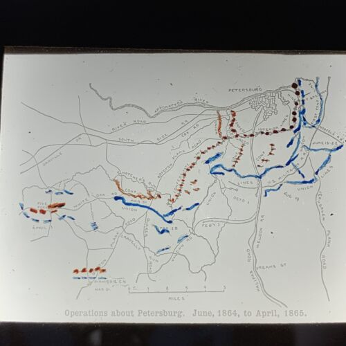 Antique Magic Lantern Glass Slide Civil War Battle Lines Petersburg