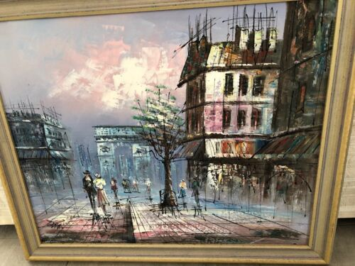 Old Paris ORIGINAL OIL PAINTING GOLD FRAMED 40x50CM READY TO HANG