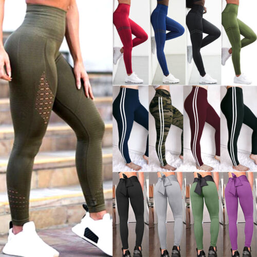 Womens High Waist Yoga Leggings Stretch Fitness Ladies Sports Gym Pants Trousers
