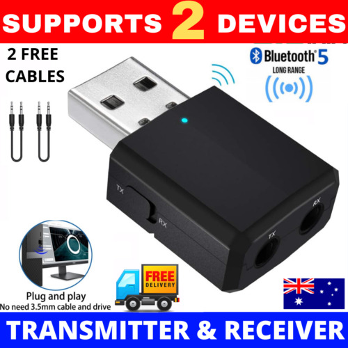 3 IN 1 USB Bluetooth 5.0 Transmitter Receiver Audio Adapter AUX 3.5mm TV CAR PC