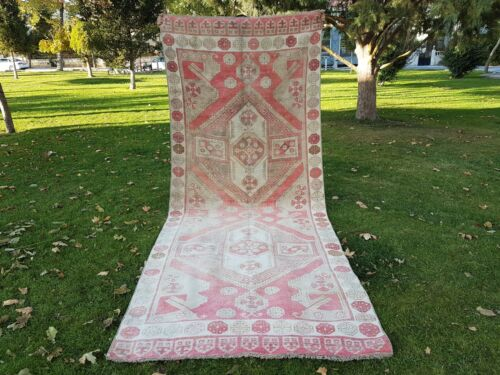 Large Wide Turkish Runner, Distressed Low Pile Turkish Carpet Entry Rug 4.7x11.6