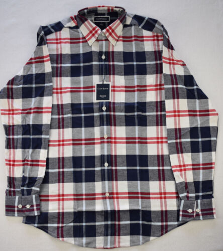 Club Room Mens Navy Combo Plaid Stretch Flannel Long Sleeve Button-Down Shirt S