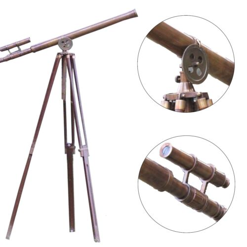 Antique Brass Floor Standing Tripod Telescope Griffith Nautical Harbor Master