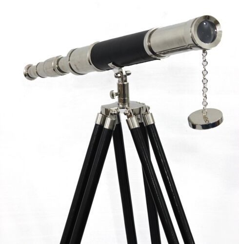 Maritime Navy Brass Telescope Silver & Leather Floor Standing Tripod Home Decor