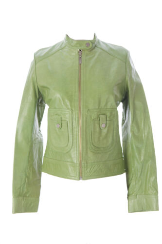 DOMA by Luciano Abitboul Emerald Green Leather Moto Jacket 1552 NEW