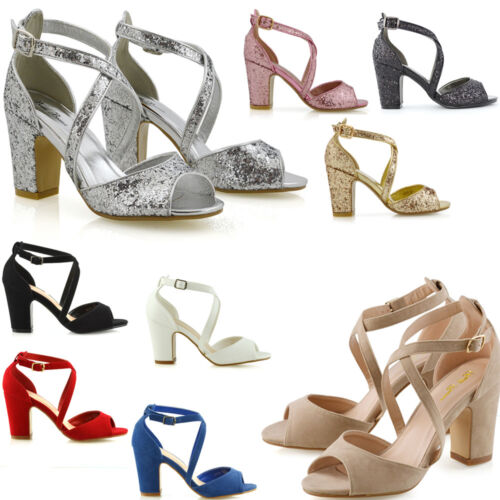 Womens Strappy Ankle Strap Sandals Ladies Block Mid Low Heel Party Shoes Size