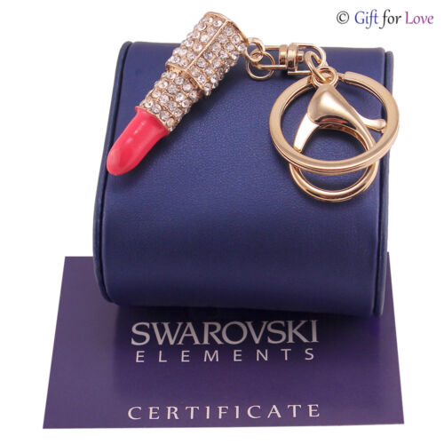 Portachiavi oro donna Swarovski Elements originale G4Love cristalli rossetto