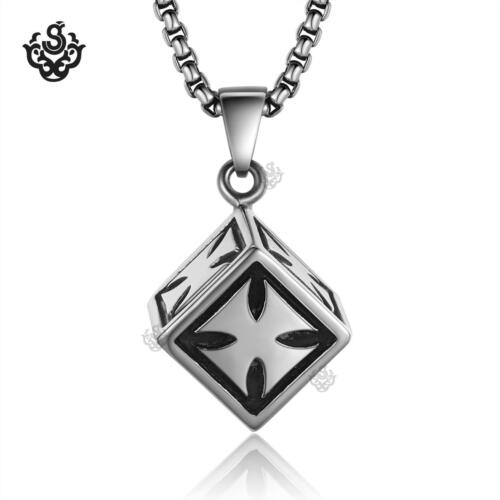 Silver cube pendant cross pattern stainless steel chain necklace solid heavy