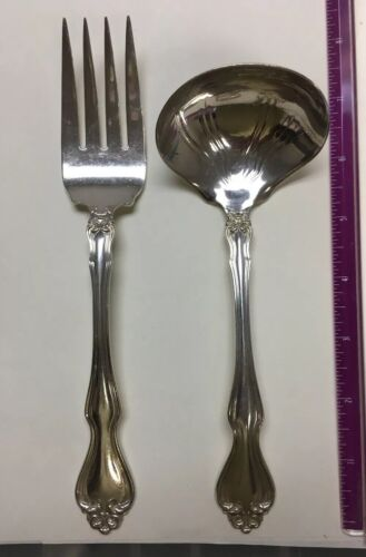 Large  Westmorland George &Martha Serving Fork & Gravy Ladle Sterling  no Mono