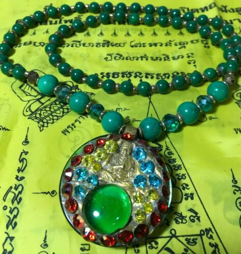 GREEN Antique Vintage Hand Made PENDANT Phra SomDej TOH TALISMAN THAI AMULET SEX