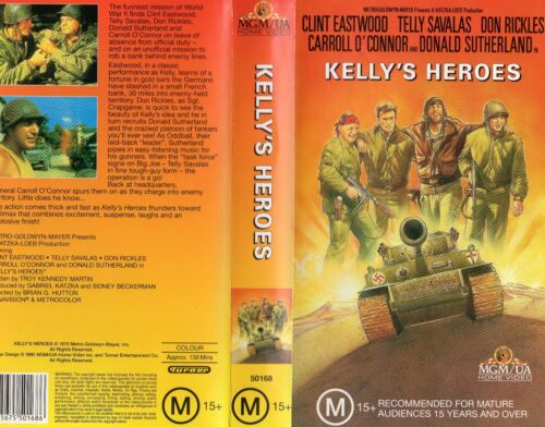 KELLY'S HEROES - Eastwood - VHS - N&S - PAL - Original Oz sell-thru release