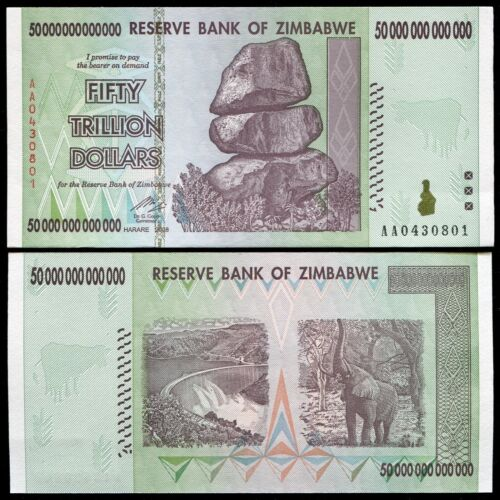 2008 50 TRILLION DOLLARS ZIMBABWE BANKNOTE, AA P-90 GEM UNC 100 TRILLION SERIES