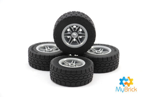Tires ~ 4 small Car//Truck Smooth Tires with Light Gray Rims ~ NEW ~ Lego