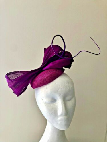 NEW stunning purple sinamay fascinator with loops and barb quill!