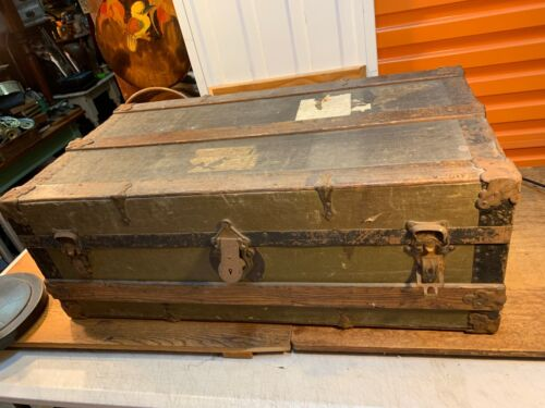 Large Antique Oak & Iron Bound Canvas Travel Ocean Liner Trunk Storage Case