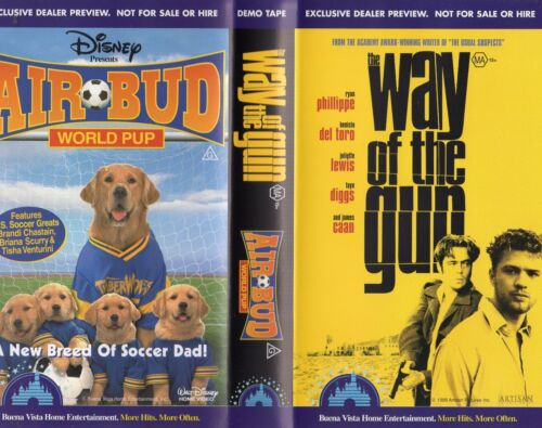 THE WAY OF THE GUN / AIR BUD 3 WORLD PUP - VHS - Time Coded -Dealer Preview -PAL