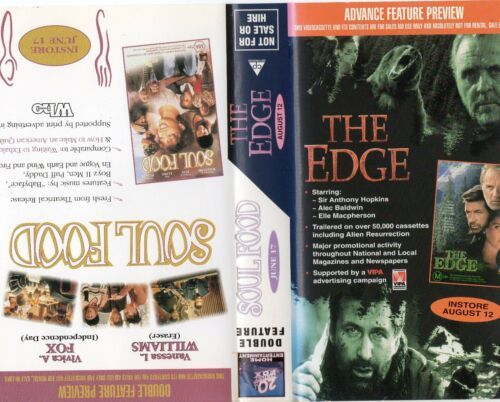 THE EDGE / SOUL FOOD - Anthony Hopkins - VHS - PAL - Time Coded -Dealer Preview