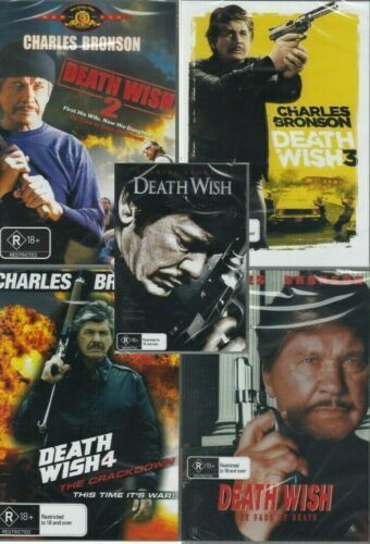 Death Wish Collection 1 -5 ( Charles Bronson ) - New Region All ( PAL ) DVD