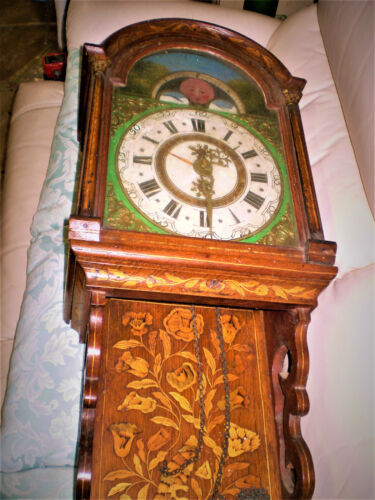 Dutch antique Marquetry early 19thC Staartklok Wall clock